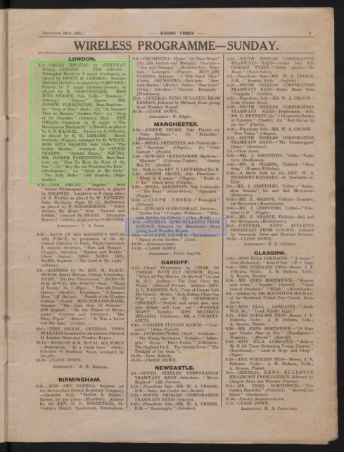 Radio Times Issue 1 (1923), example listings page